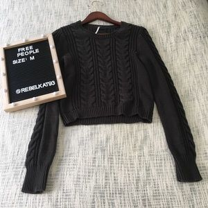 Free People knit sweater dark grey Medium